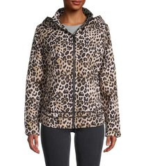 marc new york performance women's leopard-print hooded rain jacket - leopard print - size xs