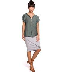 blouse be b150 knoopjesblouse met korte mouwen - mint