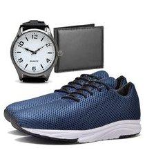 tênis sapatênis urbano com carteira e relógio clean masculino dubuy 1108db azul