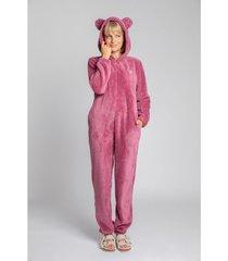 jumpsui lalupa la006 fluffy knit onepiece onesie - heather