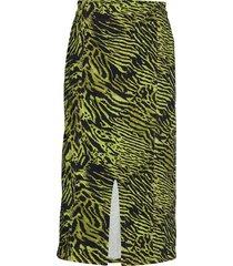 soft tiger knälång kjol grön ganni