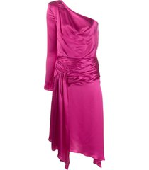 each x other one-shoulder asymmetric midi dress - pink