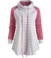 funnel neck striped raglan sleeve sweatshirt