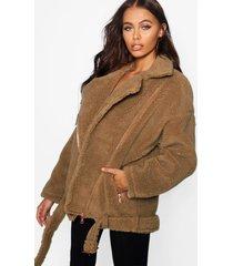 teddy faux fur biker jacket, brown