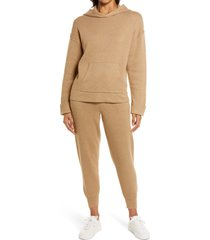 women's caslon sweater hoodie, size large - brown