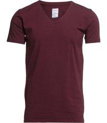 mens stretch v-neck tee s/s t-shirts short-sleeved röd lindbergh