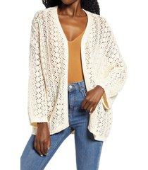 women's cotton emporium open knit longline cardigan