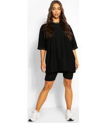 oversized slash neck sweat top, black