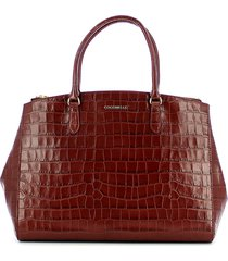 coccinelle dark red sortie croco embossed top-handle bag