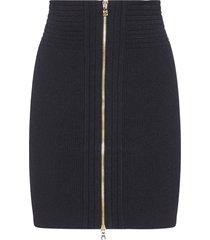 balmain zipped stretch knit miniskirt