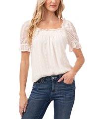 cece petite square-neck embroidered ruffled blouse