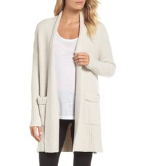 women's barefoot dreams cozychic lite long weekend cardigan, size x-small - beige