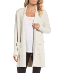 women's barefoot dreams cozychic lite long weekend cardigan, size medium - beige