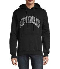 eleven paris men's logo cotton hoodie - black - size xl