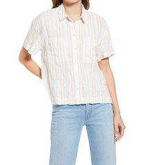women's madewell women's beachside seersucker stripe shirt, size small - orange