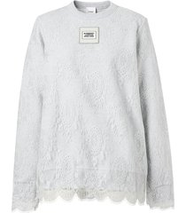 burberry lace overlay sweatshirt - grey