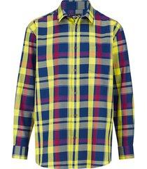 overhemd men plus blauw::rood::geel