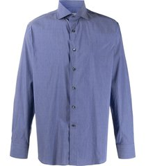canali long sleeve straight fit shirt - blue