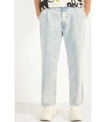 jeans met plooien en wijde pijpen