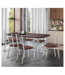 conjunto de mesa de jantar com 6 cadeiras itália corino marrom e tabaco