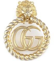 women's gucci lion head gg clip-on earring