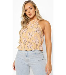 bloemenprint peplum top met halter neck, yellow