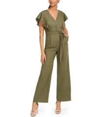 calvin klein ruffled belted jumpsuit