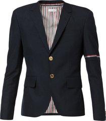 thom browne rwb selvedge armband sport coat - blue