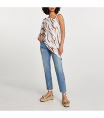 river island womens cream asymmetric one shoulder strap top