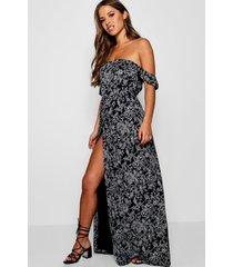 petite paisley maxi wikkel jurk met uitgesneden hals, zwart