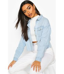 cropped oversized denim shirt, light blue
