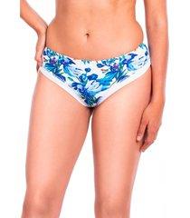 bikini calzón tanga tiro alto estampado azul samia
