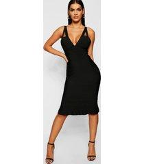 midi-jurk met peplum-zoom met bandjesdetail en contourbandage, zwart
