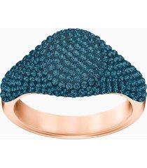anello stone signet, azzurro, placcato oro rosa