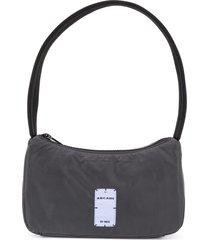 mcq reflective logo-patch shoulder bag - black
