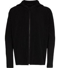 homme plissé issey miyake classic zipped hooded sweatshirt - black