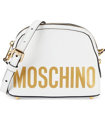 moschino women's dome leather crossbody bag - white gold