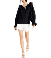 inc cotton ruffled peasant top, created for macy's