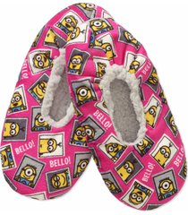 despicable me silky suede fuzzy babba minions printed slipper socks, s/m
