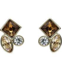 orecchini a lobo con pietre sui toni dell'oro in metallo dorato per donna