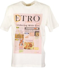 etro t-shirt newspaper pink/white