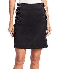 buckled satin a-line skirt
