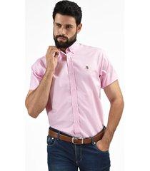 camisa de vestir rosado oxford custom fit para hombre