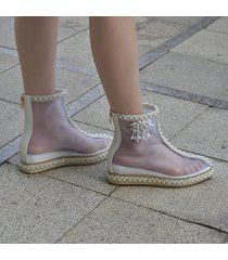 pb147 sweet transparent booties with pearl embellishment,us size 3-9,as shown