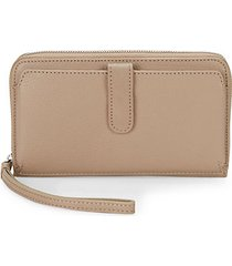 pebbled leather zip-around long wallet