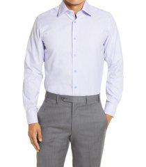 men's big & tall david donahue trim fit patterned dress shirt, size 17.5 - 36/37 - purple