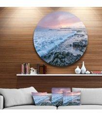 "designart 'sunset on cape trafalgar beach' seascape metal circle wall art - 38"" x 38"""