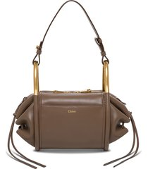 chloé bonbon crossbody bag in brown leather