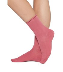 calzedonia short cotton socks with comfort cut cuffs woman pink size 36-38