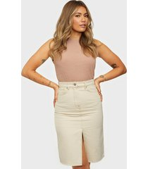selected femme slfmay mw jade white denim skirt w midikjolar